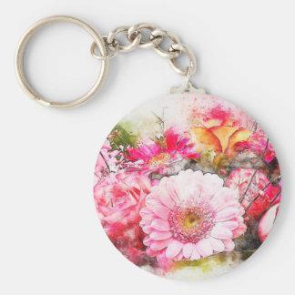 fleurs mignonnes de couleur d'eau porte-clé rond