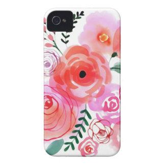 Fleurs mignonnes roses d'aquarelle coques Case-Mate iPhone 4