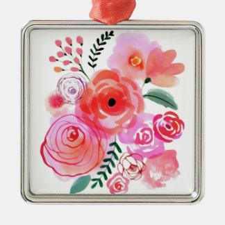 Fleurs mignonnes roses d'aquarelle ornement carré argenté