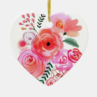 Fleurs mignonnes roses d'aquarelle ornement cœur en céramique