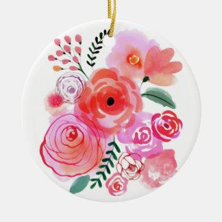Fleurs mignonnes roses d'aquarelle ornement rond en céramique