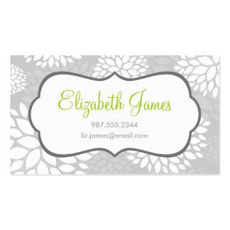 Fleurs modernes grises carte de visite standard