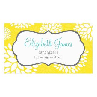 Fleurs modernes jaunes carte de visite standard