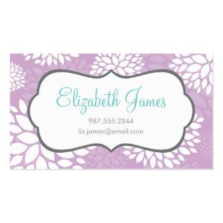 Fleurs modernes pourpres lilas carte de visite standard