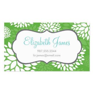 Fleurs modernes vertes cartes de visite personnelles