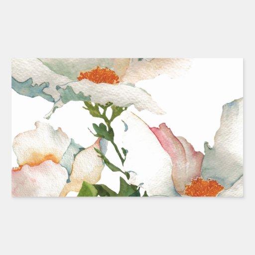 Fleurs mûres abstraites stickers en rectangle