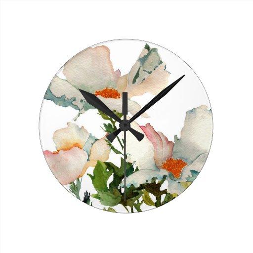 Fleurs mûres abstraites horloge murale