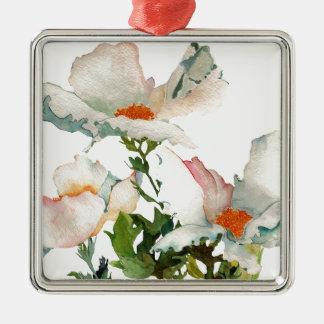 Fleurs mûres abstraites ornement carré argenté
