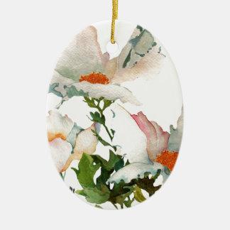 Fleurs mûres abstraites ornement ovale en céramique