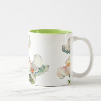 Fleurs mûres abstraites mug bicolore
