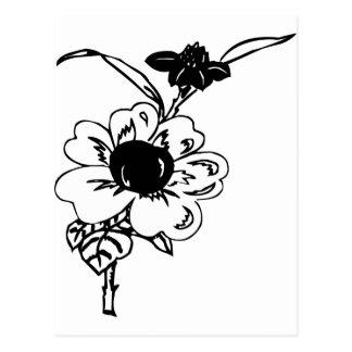 Fleurs noires et blanches carte postale