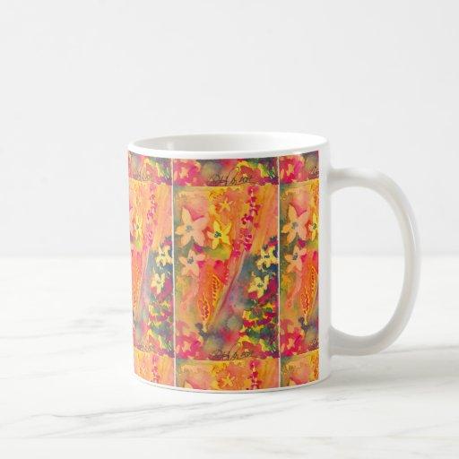 Fleurs oranges et jaunes tasse à café