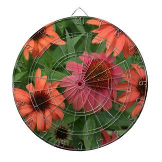 fleurs oranges jeu de fléchettes