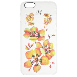 Fleurs oranges lumineuses - monogramme coque iPhone 6 plus