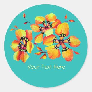 Fleurs oranges lumineuses - votre propre texte - sticker rond