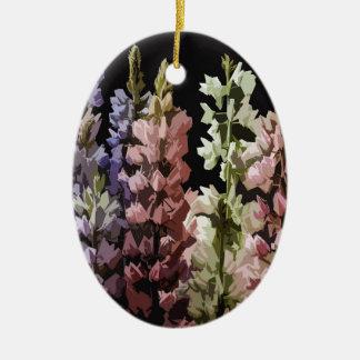Fleurs Ornement Ovale En Céramique