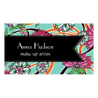 Fleurs, pétales, feuille, remous - bleu rose vert cartes de visite personnelles
