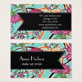 Fleurs, pétales, feuille, remous - bleu rose vert cartes de visite