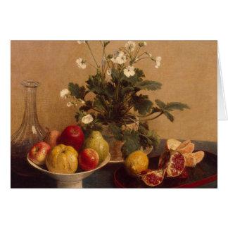 Fleurs, plat avec le fruit et carafe, 1865 carte de vœux