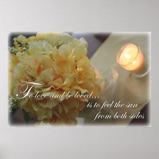 Fleurs pour aimer la citation poster