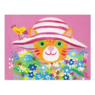 fleurs pour vous chat mignon de jardinier carte postale