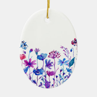 Fleurs pourpres de champ d'aquarelle ornement ovale en céramique