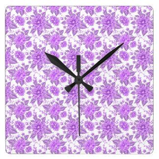 Fleurs pourpres décoratives horloge carrée