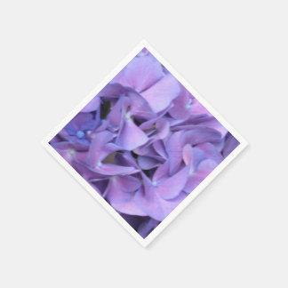Fleurs pourpres d'hortensia serviette jetable