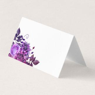 Fleurs pourpres posant la carte. Épouser floral Carte De Placement