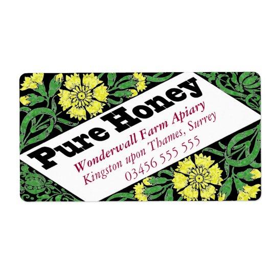 Fleurs pures de jaune de miel étiquette d'expédition