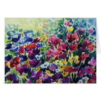 Fleurs qui dansent la CARTE originale d'aquarelle