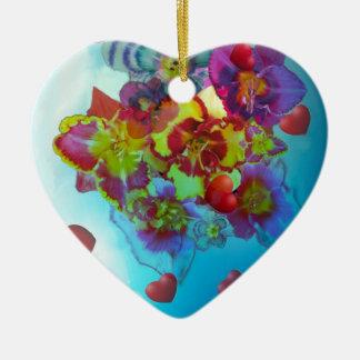Fleurs qui ont laissé leurs coeurs ornement cœur en céramique