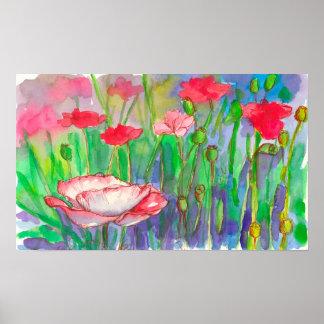 Fleurs roses d'aquarelle de pavots poster