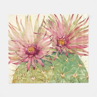 Fleurs roses de cactus couverture polaire