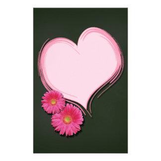 Fleurs roses de coeur - en-tête de lettre de papeterie