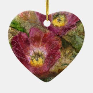 Fleurs roses de désert de l'Arizona Ornement Cœur En Céramique