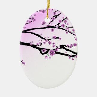 Fleurs roses de fleurs de cerisier ornement ovale en céramique