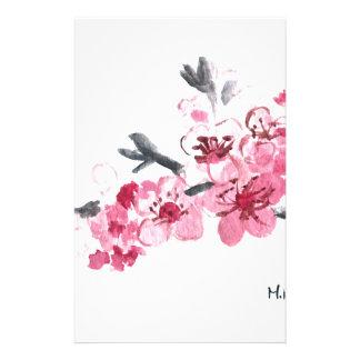 Fleurs roses de fleurs de cerisier papier à lettre personnalisé