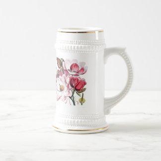Fleurs roses de magnolia chope à bière