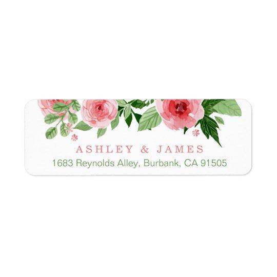 Fleurs roses de nature de jardin d'aquarelle étiquettes d'adresse retour