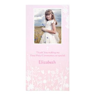 Fleurs roses et blanches, carte photo religieux photocarte customisée