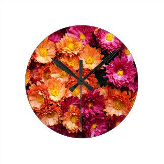 Fleurs roses et oranges décoratives pendules murales