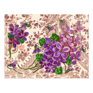 Fleurs roses et pourpres avec le coeur d'amour carte postale