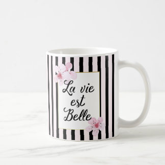 Fleurs roses françaises féminines et rayures mug