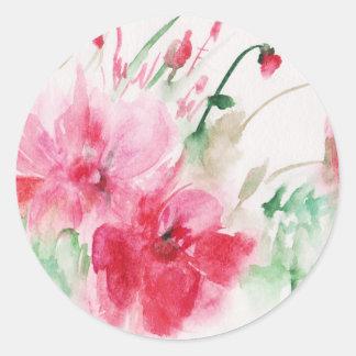 Fleurs roses merveilleuses sticker rond