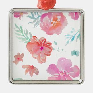 Fleurs roses romantiques d'aquarelle ornement carré argenté
