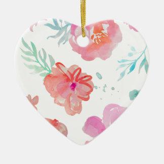 Fleurs roses romantiques d'aquarelle ornement cœur en céramique