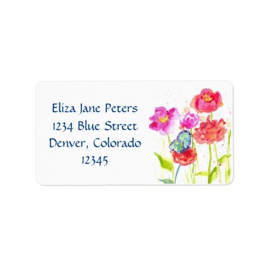 Fleurs rouges d'aquarelle de pavot de papillon étiquettes d'adresse