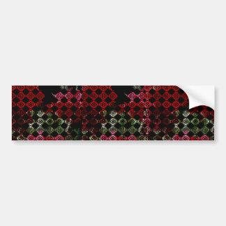 Fleurs rouges en damassé adhésifs pour voiture