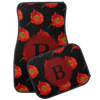 Fleurs rouges modernes de pavot et lettre initiale tapis de sol